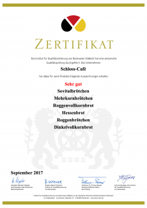 Schloss-Cafe 2017 Urkunde