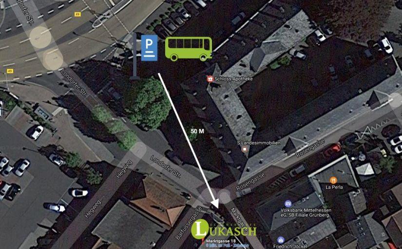Anfahrt und Parkplatz, Schloss-Cafe Lukasch