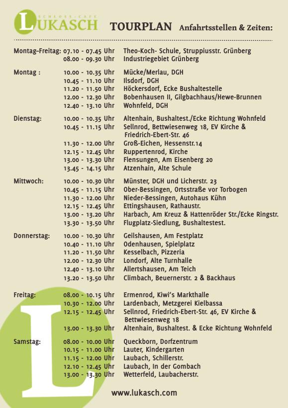Bäckerbus Tourplan